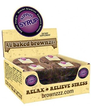 1/2 Baked Brownzzz - Relaxation and Relieve Stress - Display Case - 12 Pack - Relaxation Brownie - Sippin Syrup